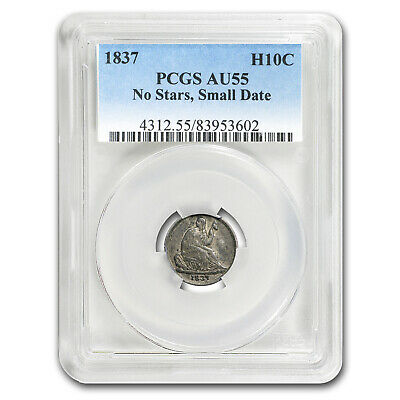 1837 Liberty Seated Half Dime No Stars, Small Date AU-55 PCGS