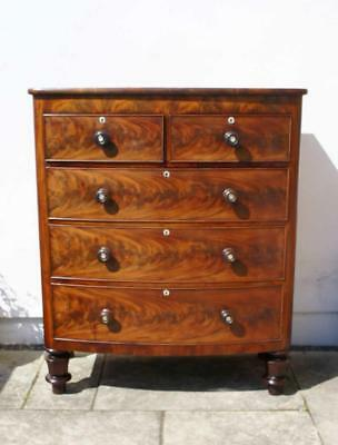 Large early Victorian bow front, flame Mahogany chest of drawers