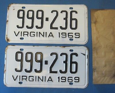 Matched Pair 1969 Virginia License Plates unissued