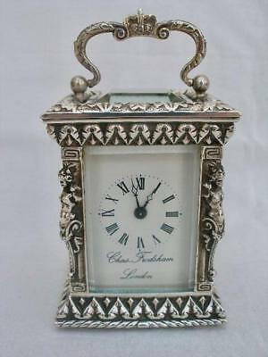 Superb 8 Day Charles Frodsham Sterling Silver Miniature Carriage Clock.
