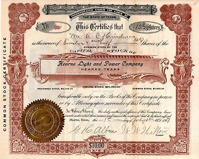 The Hearne Light and Power Company of Hearne, Texas 1907 Stock Certificate