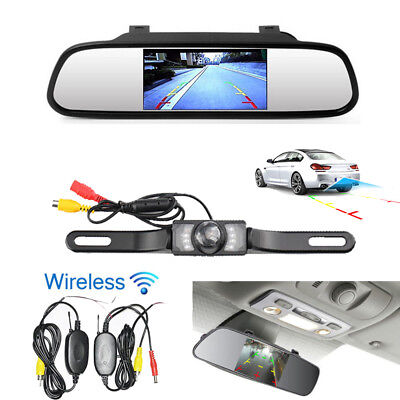 """4.3"""" LCD Monitor Reversing Back Up Screen Camera Kit Wireless Rear View System"""