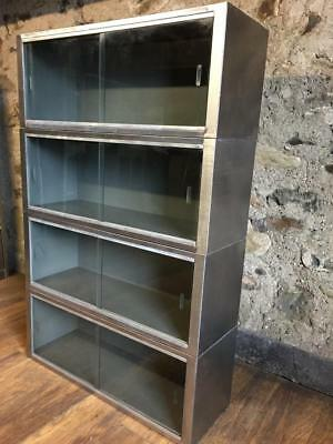 Stylish Vintage Industrial Stripped Metal Barristers Lawyers  Sectional Bookcase