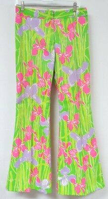 Vintage 70s LILLY PULITZER Floral Pants Bell Bottom Iris Flower Novelty Neon