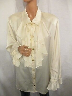 Vintage Fink Cream Glossy Satin L Xl Ruffle Frill Long Sleeve Blouse Poet Style