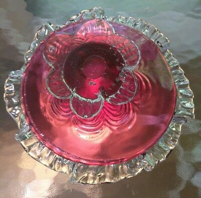 Antique cranberry & clear blown glass footed bowl small compote ruffled edges