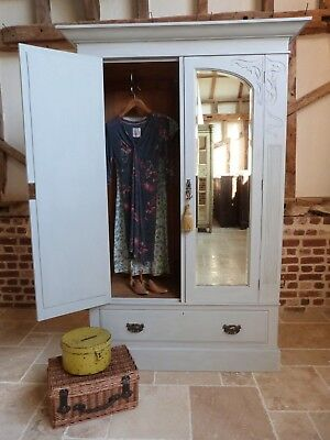 Pretty Vintage painted double 2 doors 2 mirrors drawer base wardrobe