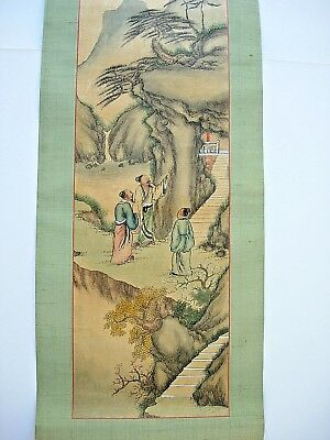 Old` Antique `chinese Painted Scroll  4 Ft Long Superb Quality & Superb Detail