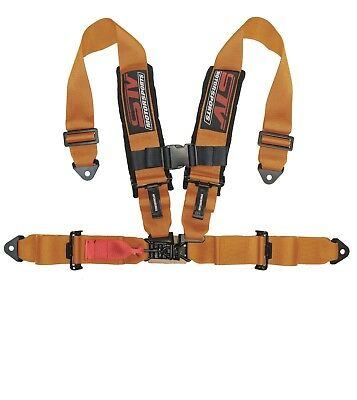 "STV Motorsports Safety Seat Belt Harness Orange 4 Point 3"" Polaris RZR Ranger"