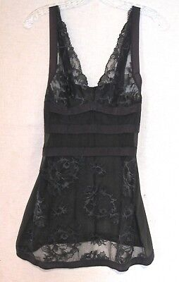 LA PERLA Sexy Nighty * SZ-M * Black/Gray Silk Blend * Stretchy Lace & Ribbon *