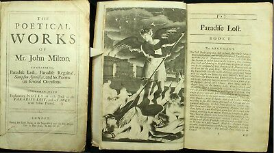 Milton THE POETICAL WORKS 1695 12 Plates PARADISE LOST Poems HUME NOTES 1ST NR