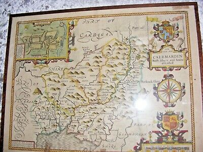 Antique 17Thc  1662 John Speed Map Of Caermarden Carmarthen Roger Rea Edition