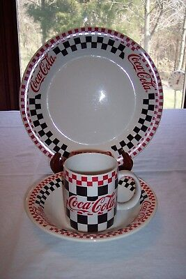 Gibson Coca Cola Checkerboard 3 Pc Dinnerware Set- Plate Bowl Cup & COCA COLA DINNERWARE Plate Bowl Salt Pepper Shakers Dishes Gibson ...