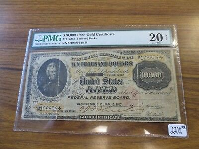 1900 $10000 Gold Certificate Currency PMG VF20 (Cancelled) Fr. 1225H Scarce