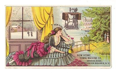 Woman Dreaming - New Home Sewing Machine Victorian Trade Card