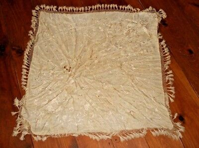 Antique Canton Chinese Hand Embroidered Cream Silk Piano Shawl Fringe Scarf