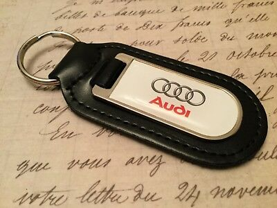 AUDI WHITE Real Leather Keyring  Printed resin coated A 1 2 3 4 5 6 7 8 S R Q RS