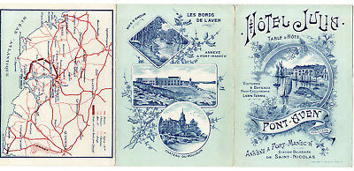1912, 6-Sided Folder, Hotel Julia, Pont-Aven, France, With Map, Train Schedule