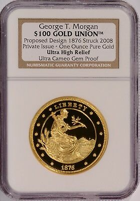 2008 George T Morgan 1876 Union High Relief $100 Gold 1 oz Proof Coin NGC No Res
