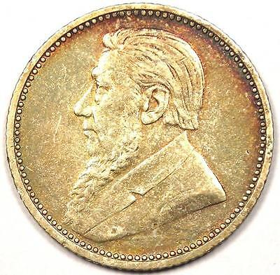 1894 South Africa Zar Sixpence Coin 6P - XF Condition - Nice Rainbow Toning!