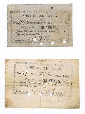 Lot of 10 Cent, 25 Cent fractional notes, Northfield Bank, Vermont, 1842, cancld