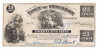25 Cents, Town of Staunton, Virginia, signed, dtd July 6, 1861, slaves & cotton