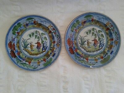 """Fabulous Pair Of Old Antique Chinese Dutch Delft? Import Export 10"""" Plates"""