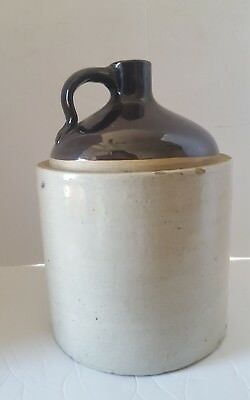 Antique Stoneware Whiskey Moonshine Jug Two Tone Brown Salt Glazed 2 Gallon