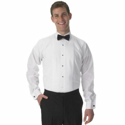 """New White Lay Down Collar 1/4"""" Pleat Tuxedo Shirt Poly/Cotton by Henry Segal"""