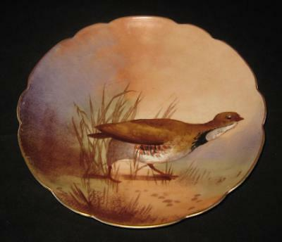 Vintage Hand Painted Biarritz Limoges Plate, Game Bird Pheasant Partridge Signed