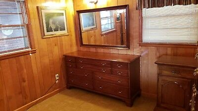 Cherry Henkel Harris Dresser w/ Mirror Mahogany Finish --- Local Pickup Only SC