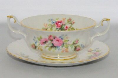 1-Royal Albert * Moss Rose *2 Handled Cream Soup Bowl & Saucer ( 3 Available)