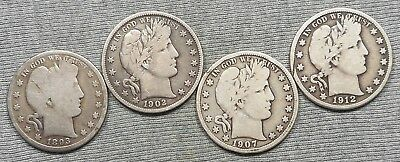 Lot Of 4 Barber Half Dollars - 1893, 1902, 1907 D & 1912 D