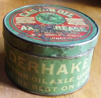 Antique Derhake's Castor Oil Axle Grease Tin   Also Cures Sores on Man & Beast