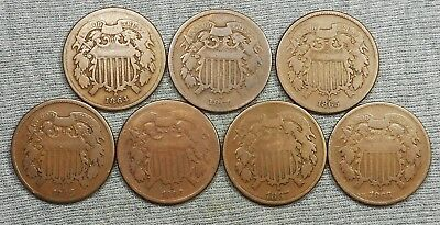 Lot Of 7 Two Cents Coins/Pieces - (2)1864, (2)1865, 1866, 1867 & 1868