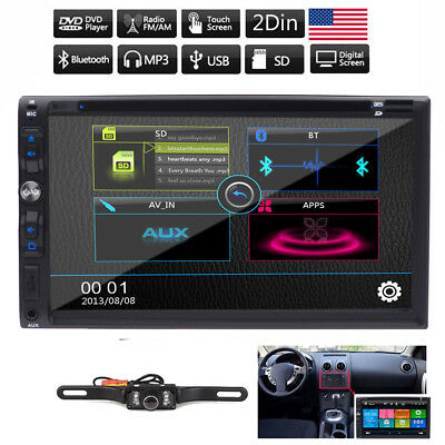 """For Sony Lens Double Din 7""""Car Stereo Radio DVD Player iPod Bluetooth TV MP3 Mic"""
