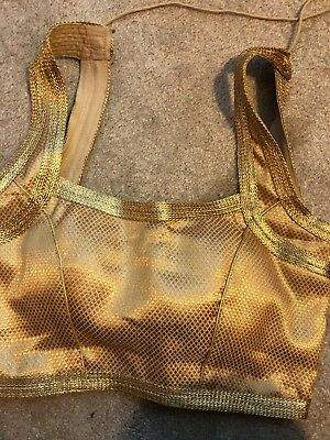 gold sari blouse/choli/crop top - halter style - Worn 1 time