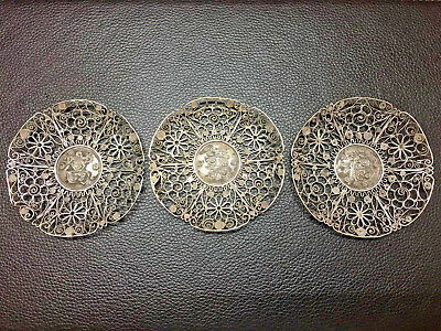 3 X 19Th Century China Chinese Silver Filigree Dishes With Hallmark 纯银丝小盘