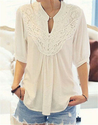 Ladies Casual Tops T-Shirt Women Summer Loose Top Lace Short Sleeve Blouse white