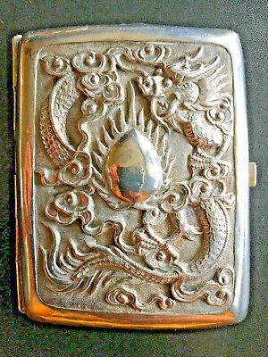 19Th Century China Chinese High Relief Dragon Solid Silver Card Case Box