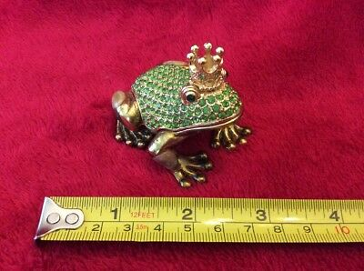 Bejeweled Golden Frog Prince Enameled Magnetic Hinged Trinket Jewelry Box