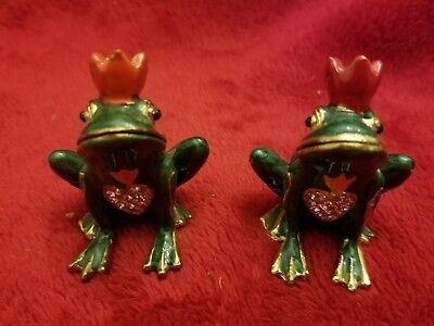 Frog Prince Pair Enameled Magnetic Hinged Trinket Jewelry Boxes