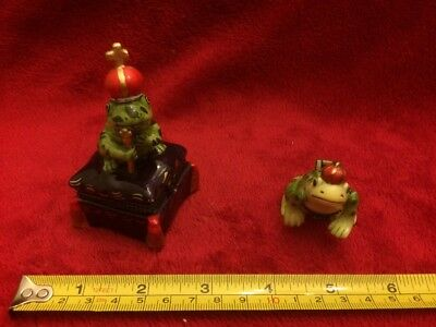 2 Frog Prince Ceramic  Hinged Trinket Jewelry Boxes With Surprises In Each