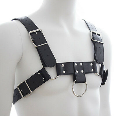 Men's Black Leather Buckles Chest Harness Bondage Gay Interest Clubwear Costume