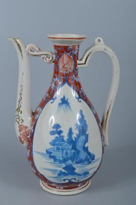 K7490: Japanese Old Kutani-ware Colored porcelain WATER JUG Teapot Suichu