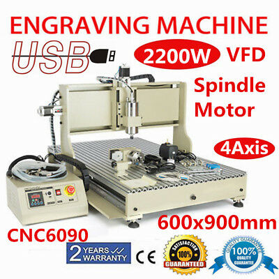 USB 4Axis 2.2KW VFD CNC 6090 Router Engraver Engraving Milling Drilling Machine