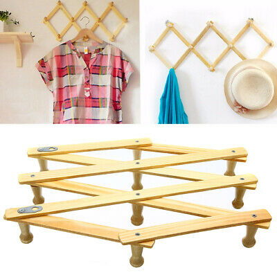 Folding Expanding Wooden Hanger 10 Hooks Expandable Coat Hat Closet  Door Rack