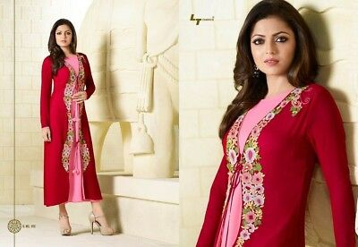 Stitched Indian Red Pink Long Kurti or Kurta with Long Sleeves Size Large