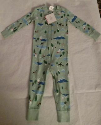 NWT Hanna Andersson Winter Forest Sleeper 1PC Pajamas 85 2T Toddler Boy