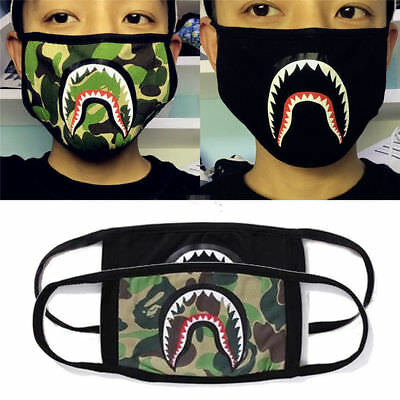 3X Shark Face Mask Bathing Ape Bape Camouflage Mouth-muffle Anti Fog Unisex New